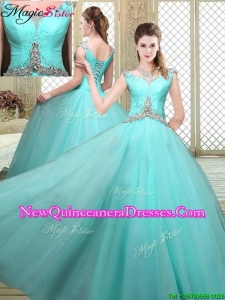 Cheap Straps Beading Sweet 16 Dresses in Aqua Blue