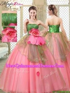 The Most Popular Strapless Quinceanera Gowns with Hand Made Flowers for 2016