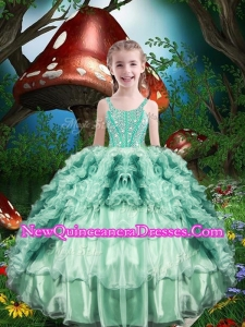 Lovely Straps Little Girl Pageant Dress with Beading and Ruffles
