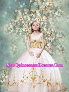 Perfect Ball Gown Scoop Little Girl Pageant Dresses in White and Gold