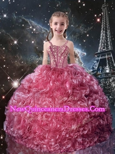 Pretty Straps Little Girl Pageant Dresses with Beading for Fall