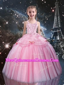 Sweet Ball Gown Straps Pink Beading Little Girl Pageant Dresses