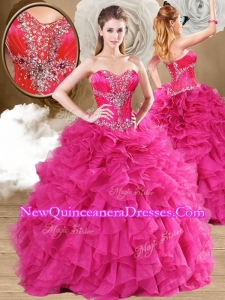 2016 New Style Ball Gown Fuchsia Quinceanera Dresses with Ruffles