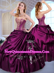 2016 Quinceanera Ball Gown Taffeta Dark Purple Quinceanera Dresses with Pick Ups