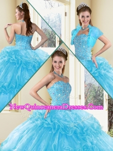 2016 Quinceanera Dresses with Beading and Ruffled Layers in Aqua Blue