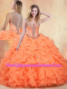 Discount Straps Orange Red Quinceanera Dresses with Ruffles and Appliques