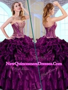2016 Simple Ball Gown Sweetheart Ruffles and Appliques Quinceanera Dresses
