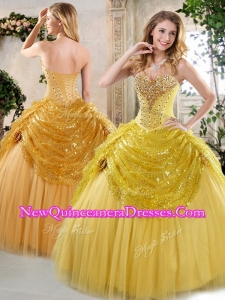 2016 Unique Ball Gown Sweet 16 Dresses with Beading and Paillette for Fall