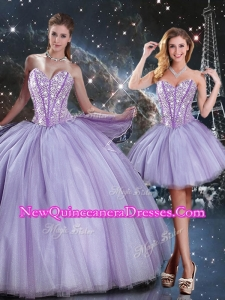 Lovely Sweetheart Beading Lavender DetachableQuinceanera Gown for 2016