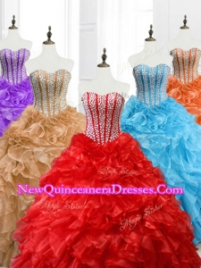 2016 Custom Made Ball Gown Sweetheart Quinceanera Dresses with Beading