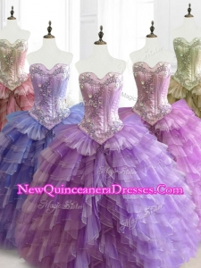 2016 Custom Made Multi Color Sweetheart Quinceanera Dresses with Beading and Ruffles
