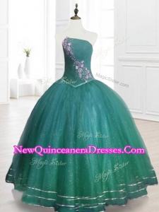 2016 Custom Made Strapless Beading Sweet 16 Dresses in Dark Green