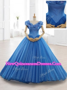 2016 Fast Delivery Appliques Off the Shoulder Sweet 16 Dresses in Blue