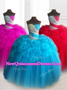 2016 Fast Delivery Sweetheart Quinceanera Dresses with Beading and Hand Made Flowers