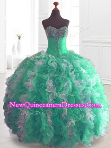 Custom Made Ball Gown Sweet 16 Dresses with Beading and Ruffles