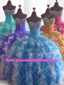 Custom Made Beading and Ruffles Quinceanera Dresses in Multi Color