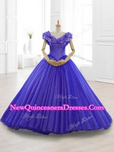 Fast Delivery Appliques Cap Sleeves Sweet 15 Dresses in Purple