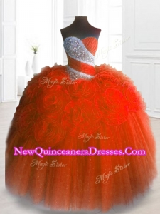 Fast Delivery Sweetheart Hand Made Flowers and Beading Quinceanera Gowns