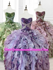 Fast Delivery Beading Multi Color Quinceanera Dresses with Ruffles and Pattern