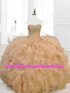 Fast Delivery Champagne Quinceanera Gowns with Beading and Ruffles