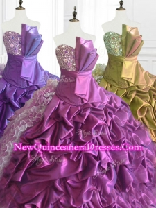 Fast Delivery Strapless Pick Ups Quinceanera Dresses with Sequins and Ruffles