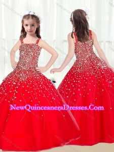 2016 Cute Ball Gown Straps Beading Red Little Girl Pageant Dresses