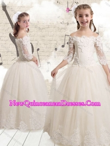 2016 Elegant Off the Shoulder White Little Girl Pageant Dresses with Appliques