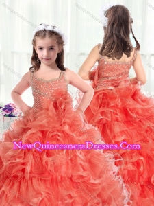 2016 Fashionable Straps Little Girl Pageant Dresses with Beading and Ruffles