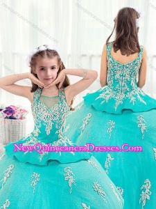 2016 Pretty Straps Turquoise Little Girl Pageant Dresses with Appliques