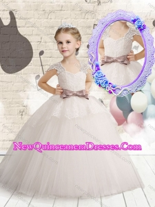 2016 Cute Cap Sleeves Little Girl Dresses with Bowknot and Lace