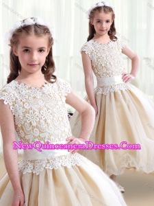 2016 Cute Scoop Ball Gown Flower Girl Dresses with Belt