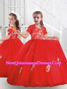 2016 Best Ball Gown Scoop Appliques Little Girl Pageant Dresses in Red