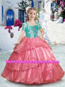2016 Pretty Spaghetti Straps Little Girl Pageant Dresses with Ruffles and Beading