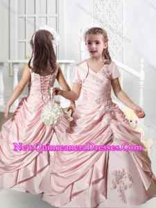 2016 Pretty V Neck Appliques Little Girl Pageant Dresses in Baby Pink