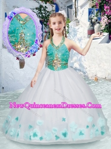 Cute Halter Top Little Girl Pageant Dresses with Appliques and Beading