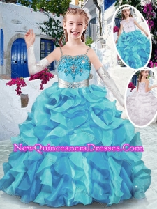 Cute Spaghetti Straps Little Girl Pageant Dresses with Appliques and Ruffles