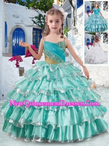 Elegant Spaghetti Straps Little Girl Pageant Dresses with Ruffled Layers and Beading