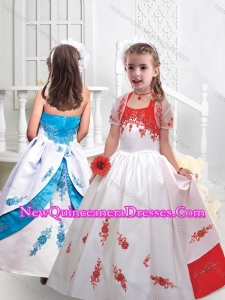 Fashionable Halter Top Satin Little Girl Pageant Dresses with Appliques