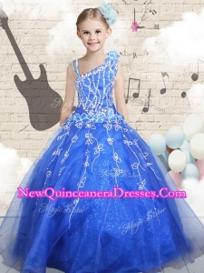 2016 Ball Gown Asymmetrical Little Girl Pageant Dresses with Beading