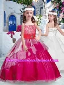 2016 Cute Spaghetti Straps Little Girl Pageant Dresses with Beading and Ruffles