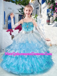 2016 Cute Straps Little Girl Pageant Dresses with Ruffled Layers and Appliques