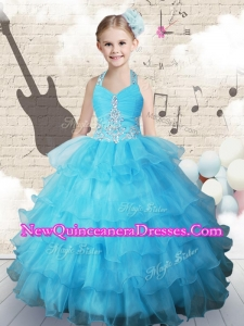 2016 Halter Top Little Girl Pageant Dresses with Beading and Ruffled Layers