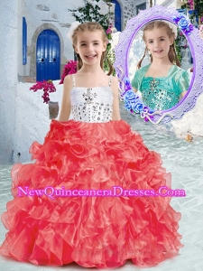 2016 Perfect Spaghetti Straps Little Girl Pageant Dresses with Beading and Ruffles