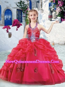 Cute Halter Top Little Girl Pageant Dresses with Beading and Bubles