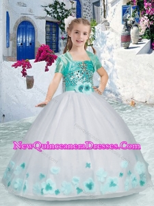Cute Spaghetti Straps Little Girl Pageant Dress with Sashes and Beading