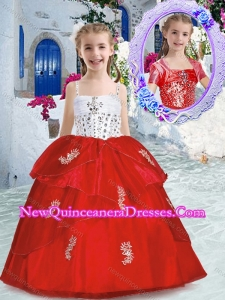 Cute Spaghetti Straps Little Girl Pageant Dresses with Appliques and Beading