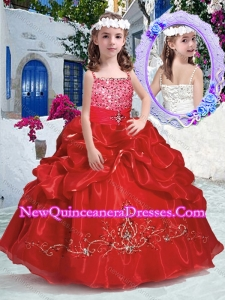 Cute Spaghetti Straps Little Girl Pageant Dresses with Beading and Bubles