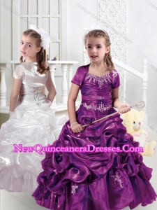 Cute Sweet Spaghetti Straps Little Girl Pageant Dresses with Appliques and Bubles