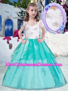 Gorgeous Straps Little Girl Pageant Dresses with Appliques and Beading