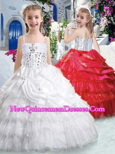Hot Sale Spaghetti Straps Little Girl Pageant Dresses with Ruffled Layers